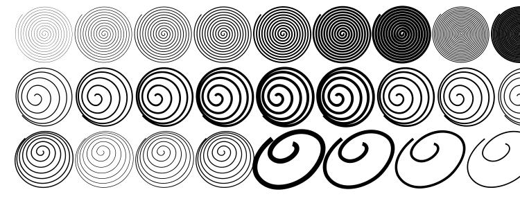глифы шрифта Spiralicus, символы шрифта Spiralicus, символьная карта шрифта Spiralicus, предварительный просмотр шрифта Spiralicus, алфавит шрифта Spiralicus, шрифт Spiralicus