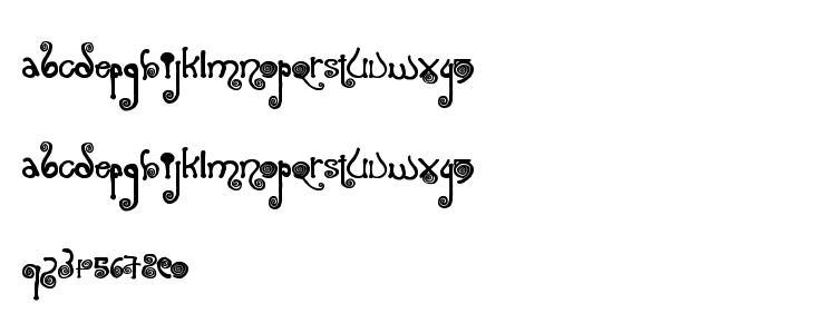 глифы шрифта Spiraling, символы шрифта Spiraling, символьная карта шрифта Spiraling, предварительный просмотр шрифта Spiraling, алфавит шрифта Spiraling, шрифт Spiraling