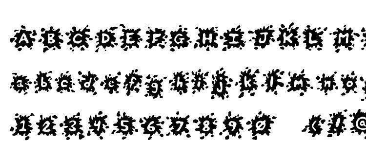 глифы шрифта Splats, символы шрифта Splats, символьная карта шрифта Splats, предварительный просмотр шрифта Splats, алфавит шрифта Splats, шрифт Splats