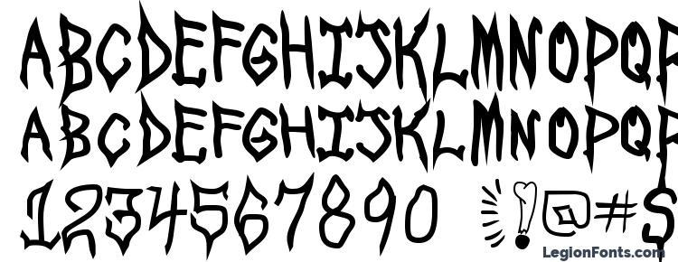 glyphs Spookshow undead font, сharacters Spookshow undead font, symbols Spookshow undead font, character map Spookshow undead font, preview Spookshow undead font, abc Spookshow undead font, Spookshow undead font