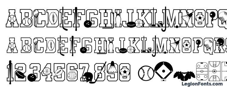 glyphs Sports font, сharacters Sports font, symbols Sports font, character map Sports font, preview Sports font, abc Sports font, Sports font