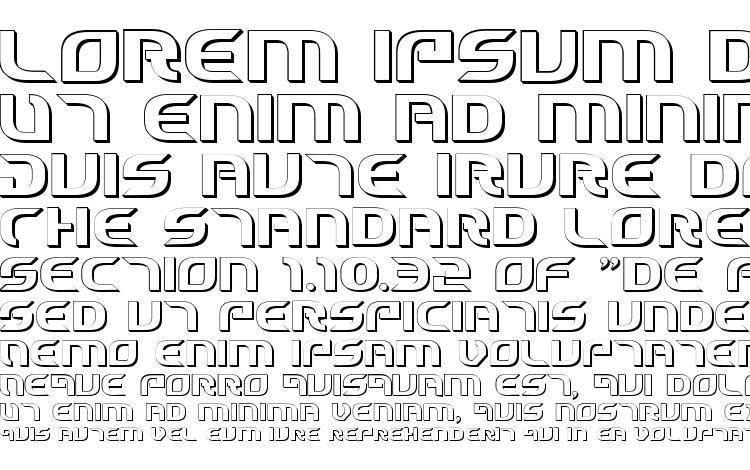 specimens Starfighter Cadet 3D font, sample Starfighter Cadet 3D font, an example of writing Starfighter Cadet 3D font, review Starfighter Cadet 3D font, preview Starfighter Cadet 3D font, Starfighter Cadet 3D font