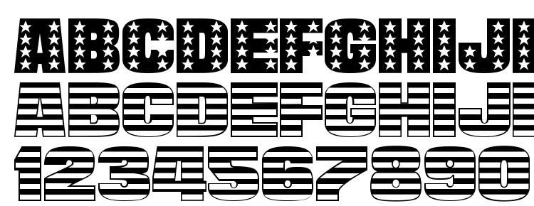 глифы шрифта StarsAndStripes Plain Regular, символы шрифта StarsAndStripes Plain Regular, символьная карта шрифта StarsAndStripes Plain Regular, предварительный просмотр шрифта StarsAndStripes Plain Regular, алфавит шрифта StarsAndStripes Plain Regular, шрифт StarsAndStripes Plain Regular