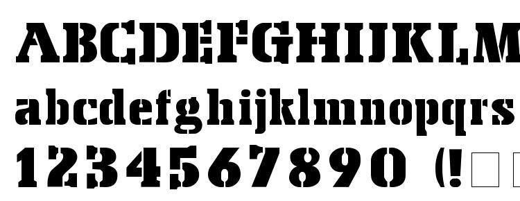 глифы шрифта Stencil Export, символы шрифта Stencil Export, символьная карта шрифта Stencil Export, предварительный просмотр шрифта Stencil Export, алфавит шрифта Stencil Export, шрифт Stencil Export