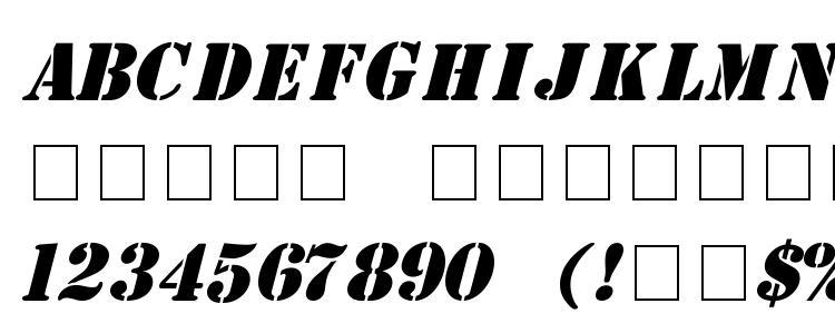 glyphs Stencil Italic font, сharacters Stencil Italic font, symbols Stencil Italic font, character map Stencil Italic font, preview Stencil Italic font, abc Stencil Italic font, Stencil Italic font