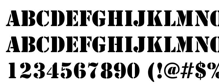 глифы шрифта Stencil Regular DB, символы шрифта Stencil Regular DB, символьная карта шрифта Stencil Regular DB, предварительный просмотр шрифта Stencil Regular DB, алфавит шрифта Stencil Regular DB, шрифт Stencil Regular DB