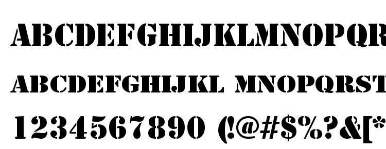 glyphs Stencil font, сharacters Stencil font, symbols Stencil font, character map Stencil font, preview Stencil font, abc Stencil font, Stencil font