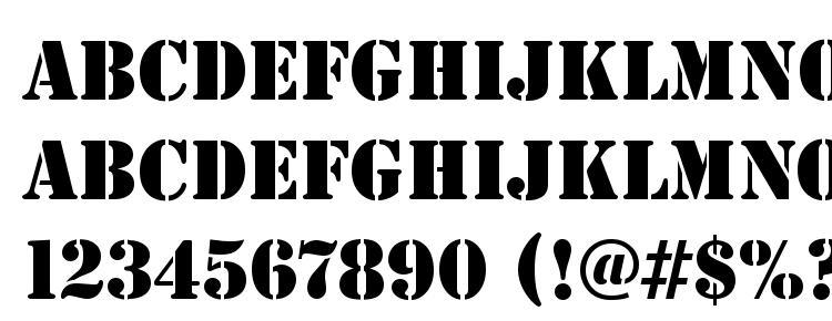 глифы шрифта StencilD, символы шрифта StencilD, символьная карта шрифта StencilD, предварительный просмотр шрифта StencilD, алфавит шрифта StencilD, шрифт StencilD