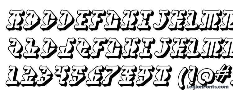 глифы шрифта Stupefaction 3D, символы шрифта Stupefaction 3D, символьная карта шрифта Stupefaction 3D, предварительный просмотр шрифта Stupefaction 3D, алфавит шрифта Stupefaction 3D, шрифт Stupefaction 3D
