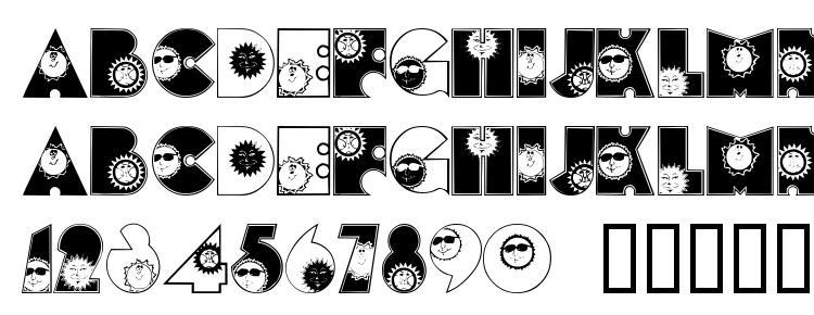 глифы шрифта SunshineKiddyFont, символы шрифта SunshineKiddyFont, символьная карта шрифта SunshineKiddyFont, предварительный просмотр шрифта SunshineKiddyFont, алфавит шрифта SunshineKiddyFont, шрифт SunshineKiddyFont