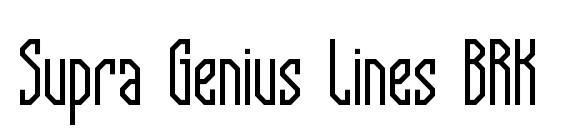 шрифт Supra Genius Lines BRK, бесплатный шрифт Supra Genius Lines BRK, предварительный просмотр шрифта Supra Genius Lines BRK