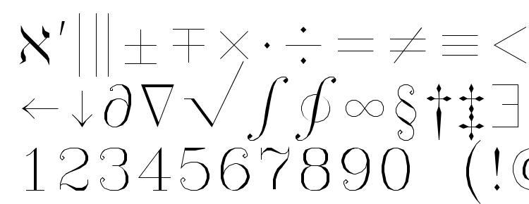 глифы шрифта Symath, символы шрифта Symath, символьная карта шрифта Symath, предварительный просмотр шрифта Symath, алфавит шрифта Symath, шрифт Symath