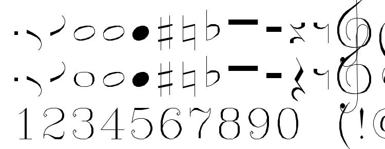 глифы шрифта Symusic, символы шрифта Symusic, символьная карта шрифта Symusic, предварительный просмотр шрифта Symusic, алфавит шрифта Symusic, шрифт Symusic