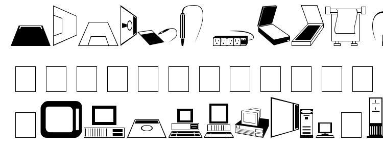 глифы шрифта Tech dingbats, символы шрифта Tech dingbats, символьная карта шрифта Tech dingbats, предварительный просмотр шрифта Tech dingbats, алфавит шрифта Tech dingbats, шрифт Tech dingbats