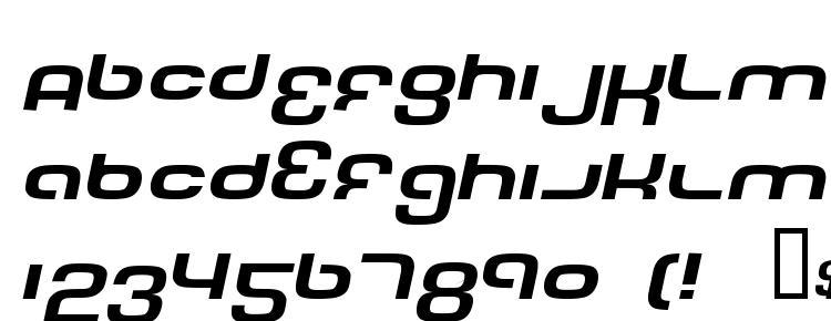 глифы шрифта Tech font wide italic, символы шрифта Tech font wide italic, символьная карта шрифта Tech font wide italic, предварительный просмотр шрифта Tech font wide italic, алфавит шрифта Tech font wide italic, шрифт Tech font wide italic