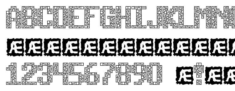 глифы шрифта Tetricide BRK, символы шрифта Tetricide BRK, символьная карта шрифта Tetricide BRK, предварительный просмотр шрифта Tetricide BRK, алфавит шрифта Tetricide BRK, шрифт Tetricide BRK