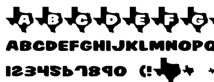 глифы шрифта Texas7, символы шрифта Texas7, символьная карта шрифта Texas7, предварительный просмотр шрифта Texas7, алфавит шрифта Texas7, шрифт Texas7