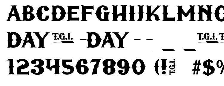 глифы шрифта TGIFriday, символы шрифта TGIFriday, символьная карта шрифта TGIFriday, предварительный просмотр шрифта TGIFriday, алфавит шрифта TGIFriday, шрифт TGIFriday