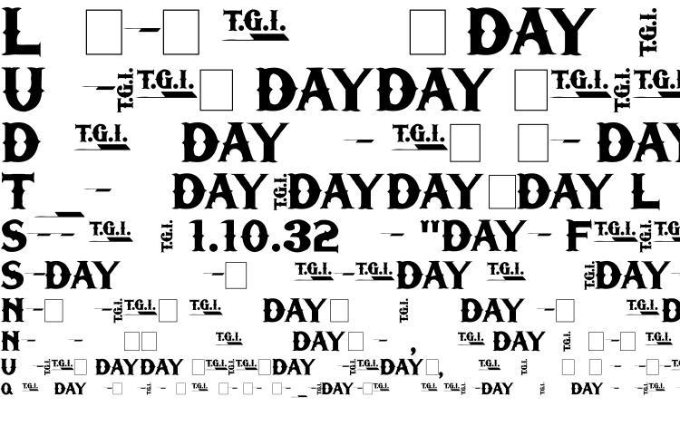 образцы шрифта TGIFriday, образец шрифта TGIFriday, пример написания шрифта TGIFriday, просмотр шрифта TGIFriday, предосмотр шрифта TGIFriday, шрифт TGIFriday