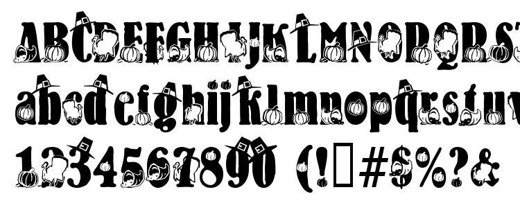 глифы шрифта Thanksgiving, символы шрифта Thanksgiving, символьная карта шрифта Thanksgiving, предварительный просмотр шрифта Thanksgiving, алфавит шрифта Thanksgiving, шрифт Thanksgiving