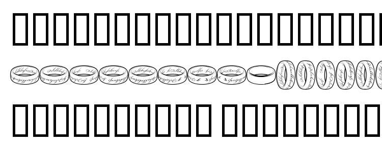 глифы шрифта Theonering, символы шрифта Theonering, символьная карта шрифта Theonering, предварительный просмотр шрифта Theonering, алфавит шрифта Theonering, шрифт Theonering