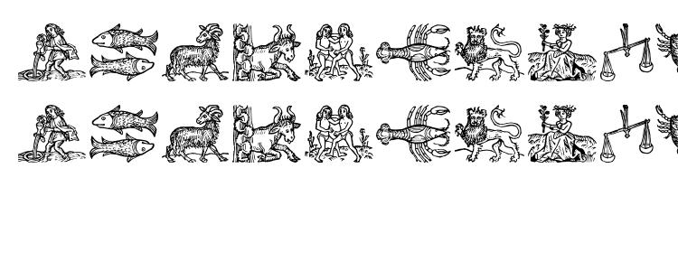 глифы шрифта Tierkreis 3, символы шрифта Tierkreis 3, символьная карта шрифта Tierkreis 3, предварительный просмотр шрифта Tierkreis 3, алфавит шрифта Tierkreis 3, шрифт Tierkreis 3