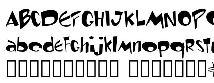 глифы шрифта Toontime, символы шрифта Toontime, символьная карта шрифта Toontime, предварительный просмотр шрифта Toontime, алфавит шрифта Toontime, шрифт Toontime