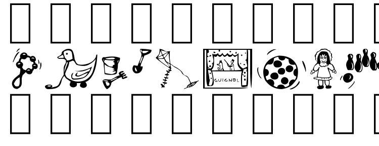 глифы шрифта Toys, символы шрифта Toys, символьная карта шрифта Toys, предварительный просмотр шрифта Toys, алфавит шрифта Toys, шрифт Toys