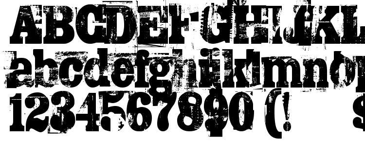 глифы шрифта TRASHED, символы шрифта TRASHED, символьная карта шрифта TRASHED, предварительный просмотр шрифта TRASHED, алфавит шрифта TRASHED, шрифт TRASHED