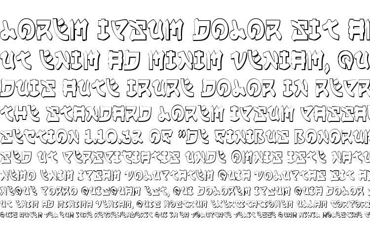 specimens Yama Moto Condensed 3D font, sample Yama Moto Condensed 3D font, an example of writing Yama Moto Condensed 3D font, review Yama Moto Condensed 3D font, preview Yama Moto Condensed 3D font, Yama Moto Condensed 3D font