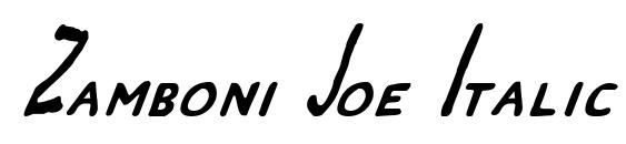 Zamboni Joe Italic Font, Handwriting Fonts